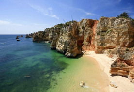 лагос,  португалия, природа, побережье, скалы, берег, море