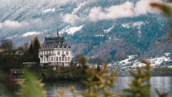 города, - дворцы,  замки,  крепости, замок, архитектура, здание, водоем, снег