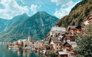 города, гальштат , австрия, горы, озеро, дома