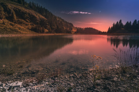 природа, реки, озера, пейзаж, закат, горы, озеро