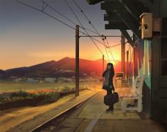 аниме, unknown,  другое , девочка, станция, закат, сумка