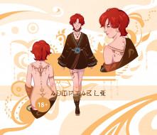 аниме, unknown,  другое , девушка, рыжая, тату, халат