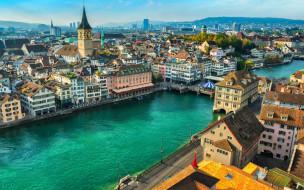 города, цюрих , швейцария, панорама
