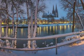 города, регенсбург , германия, река, вечер, огни, зима, снег