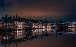 города, гаага , нидерланды, река, вечер, огни