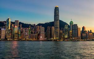 города, гонконг , китай, гонконг, центр, международной, торговли, вечер, закат, городской, вид, линия, горизонта, небоскребы