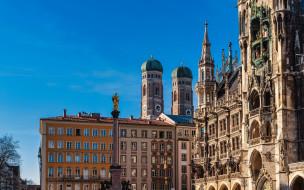 marian column, marienplatz, города, мюнхен , германия, marian, column