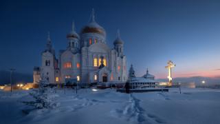 обои для рабочего стола 1920x1080 города, - православные церкви,  монастыри, монастырь, зима, зодчество, россия, снег, ночь