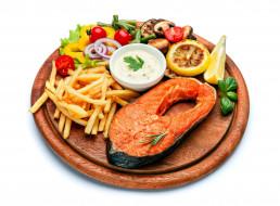 еда, рыбные блюда,  с морепродуктами, форель, картофель, фри, овощи, соус