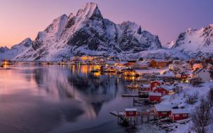 обои для рабочего стола 1920x1200 города, лофотенские острова , норвегия, фьорд, вечер, огни, зима, снег
