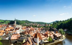 города, чески-крумлов , чехия, панорама