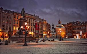 города, краков , польша, площадь, памятник, фонари, вечер, зима