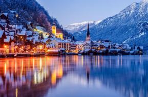 города, гальштат , австрия, горы, озеро, зима, вечер, огни
