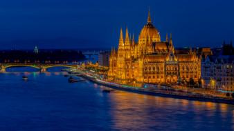 города, будапешт , венгрия, река, мост, парламент