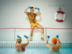 тренер, аквааэробика, бассейн, гантели, женщины
