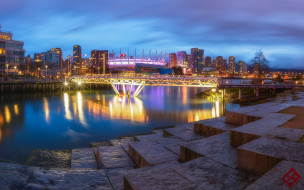 города, ванкувер , канада, река, мост, вечер, огни