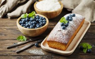 еда, пирожные,  кексы,  печенье, кекс, с, сахарной, пудрой, и, ягодами, черники