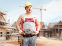 рабочий, стройка, цемент, бодиарт, каска