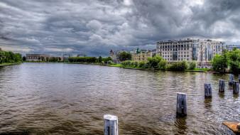 города, санкт-петербург,  петергоф , россия, река, санкт, петербург, здания, сваи, пасмурно, грозовые, облака
