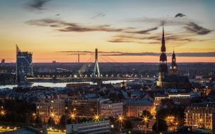 города, рига , латвия, панорама, вечер, огни