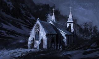 рисованное, города, ночь, горы, церковь, люди