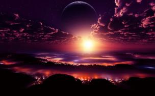 космос, арт, огни, планета