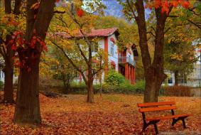 города, - здания,  дома, осень, скамейка, дом, парк, fall, листва, park, autumn