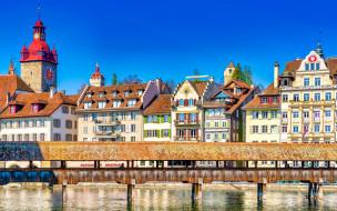 reuss river, kapellbrucke, города, люцерн , швейцария, reuss, river