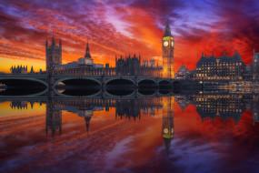 города, лондон , великобритания, вечер, огни