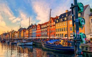 обои для рабочего стола 1920x1200 города, копенгаген , дания, канал, здания, корабли