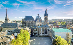 города, - католические соборы,  костелы,  аббатства, ахенский, собор, старые, улицы, городские, виды, лето, город, европа, аахен, германия