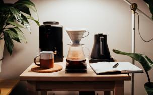 еда, кофе,  кофейные зёрна, кофеварка