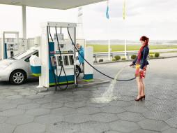 заправка, бензин, женщина