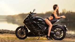 мотоциклы, мото с девушкой, ducati, diavel