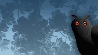сова, листья