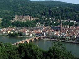 города, гейдельберг , германия, замок, река, мост, панорама