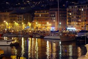 города, ницца , франция, река, корабли, вечер, огни