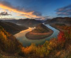 природа, пейзажи, осень, облака, пейзаж, закат, горы, река, болгария
