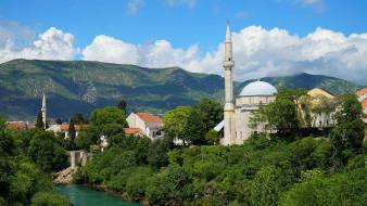 города, мостар , босния и герцеговина, мечеть