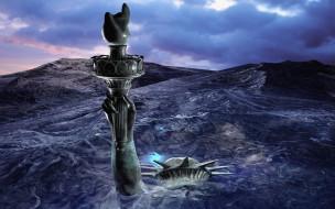 3д графика, фантазия , fantasy, море, статуя, свободы, рука, факел