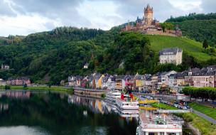 обои для рабочего стола 2560x1600 города, кохем , германия, река, корабли, замок