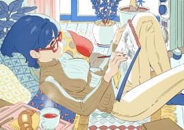 аниме, unknown,  другое , девушка, свитер, очки, рисунок