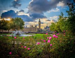 города, лондон , великобритания, парк, фонтан, цветы