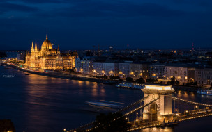 города, будапешт , венгрия, будапешт, столица, ночь, мост
