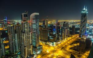 обои для рабочего стола 2560x1600 города, дубай , оаэ, вечер, огни, панорама