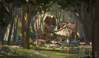рисованное, города, развалины, лес