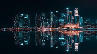 обои для рабочего стола 2880x1620 города, сингапур , сингапур, merlion, park, building, ночь, отражение, город