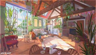 рисованное, города, комната, дом