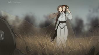 фэнтези, существа, триглава, женщина, крылья, трава