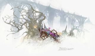 фэнтези, люди, человек, кресло, дерево, туман